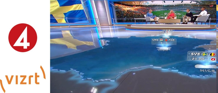 Vizrt tech transforms TV 4 Sweden's main studio for coverage of 2016 European Football Tournament
