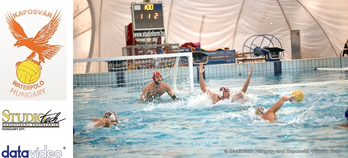 Datavideo mobile switcher and remote controlled HDBaseT cameras used in water polo venue