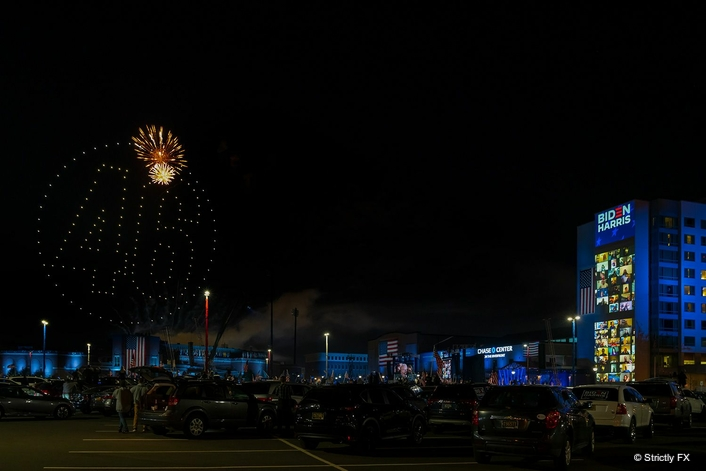 Biden campaign celebrates victory with drone light show from Strictly FX and Verge Aero