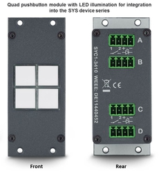 Quad pushbutton module with LED illumination for integration into the SYS device series